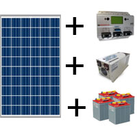 Moduli + regolatore + accumulo + inverter